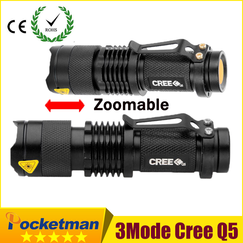 High-quality Mini Black CREE 2000LM Waterproof LED Flashlight 3 Modes Zoomable