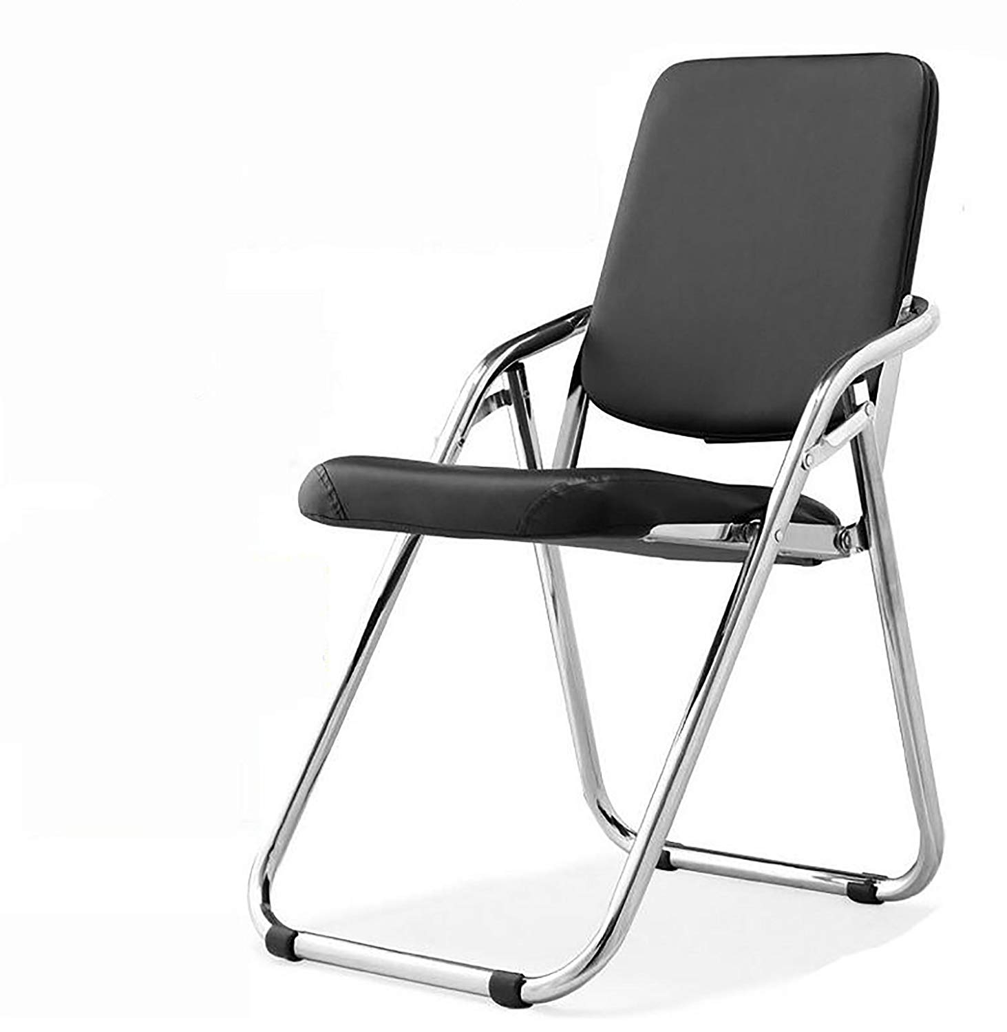 JHZDY Folding Chair Folding Training Chair Meeting Room Chair Tutoring Training Chair Performance Hall Seat Steel Pipe Foot Chair Black Leather Chair (Color : 1#)