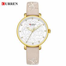 Женские наручные часы Curren, кожаные водонепроницаемые часы с золотыми стразами, 2019(Китай)