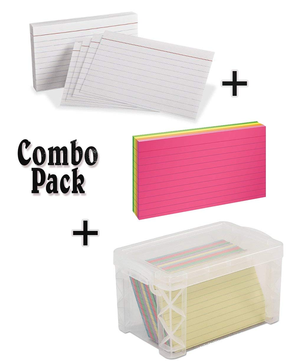 "Index Card Box, Clear 3"" x 5"" With Neon Index Cards, 3"" x 5"", Ruled, Assorted Colors, 100 Per Pack With Heavyweight Ruled Index Cards, 3"" x 5"", White, 100 Per Pack"