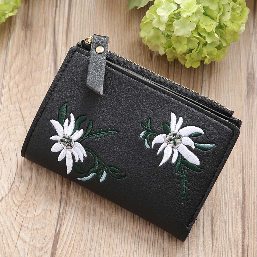 Classical Vintage Embroidery Flower Mini Bag Women PU Leather Coin Purse Card Holder Wallet Popular