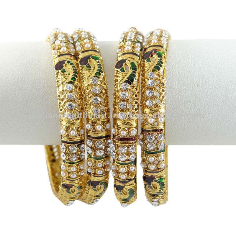 Designer Kundan CZ Enamel Gold Tone Bollywood Bangle/Kangan Set Jewelry