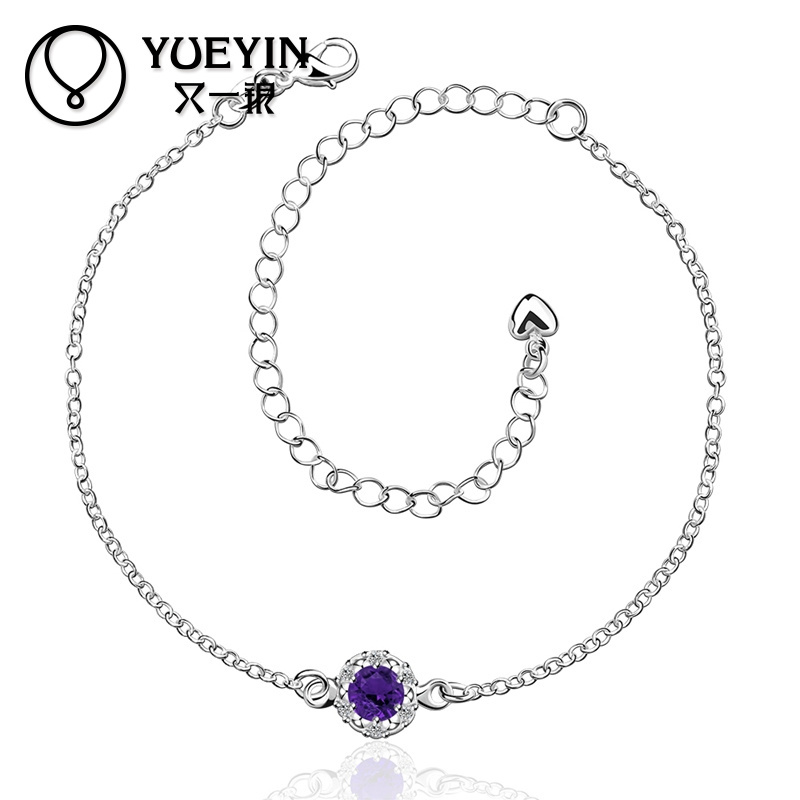 Charming Factory Price Purple Stone Foot Silver Design Anklet