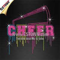 Drooling cheer megaphone rhinestone bling t shirt custom glitter vinyl transfers
