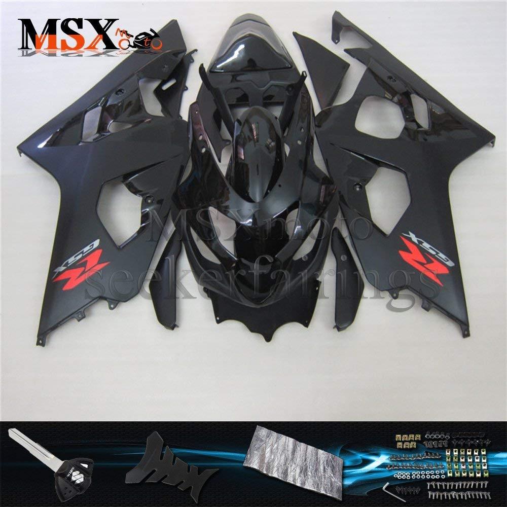 MSXmoto Fairing Kit Fit for Suzuki GSXR600 GSXR750 K4 04 05 GSXR 2004 2005 Motorcycle Fairing Kit Plastic ABS plastic Injection Molding Kit Complete Motorcycle Fairing Bodywork Painted(Black)