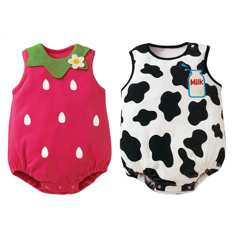 Unisex Novelty Baby Bodysuit Cute Strawberry Watermelon Cow Frog Pattern Soft Cotton Clothing Newborn Baby Boy Girl Bodysuits