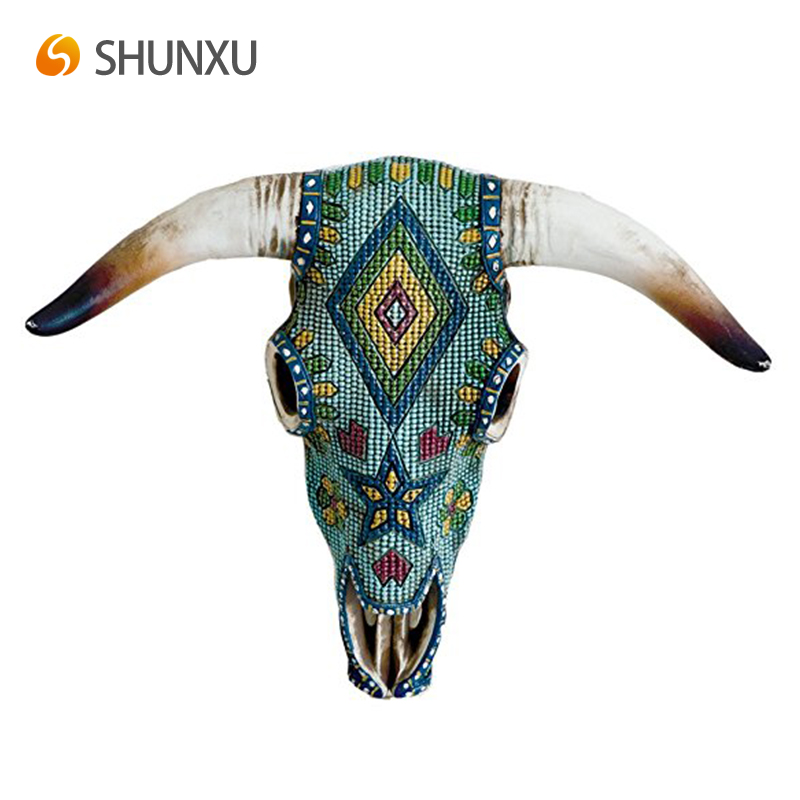 Colorful Resin Southwest Aztec Cow Skull Wall Decor Painted Art Hanging Bull Whole
