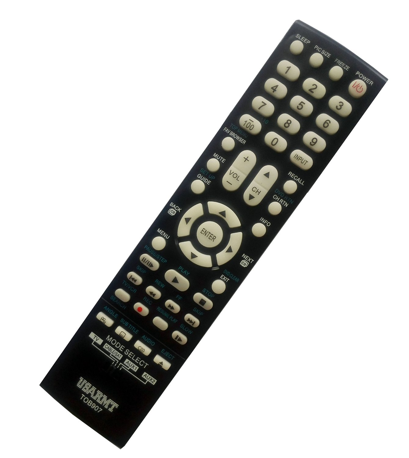 New Toshiba Universal 4-in-1 Remote Fit for 99% Toshiba TV DVD player Cable/SAT AUX, replace CT-8037 CT-90275 CT-90302 CT-90325, No need set up, easy to USE!