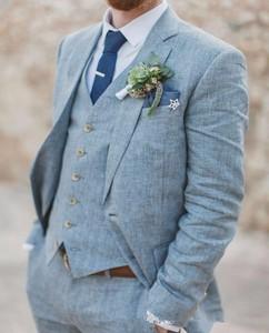 The Latest Design Linen Men's Beach Summer Wedding Dress Men's Groom Dance Slim Fit Suit 3 Pieces (Jacket + Pants + Vest)