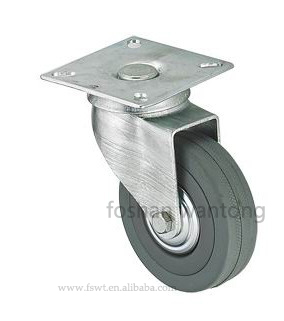 "2""-5"" Grey Rubber Wheel Light Duty Top Plate Fixed Casters"