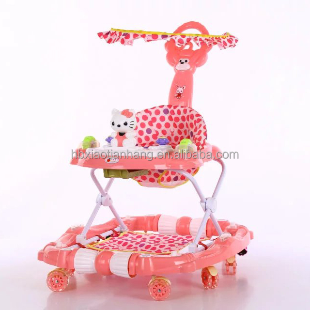Plastic Baby Walker on Sale with PU Flash Wheels and It can be Infant Rocker