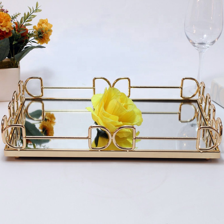 High-End Silver Decoration Metal Glass Mirror Tray For Restaurant/Bar/Cafe/Dresser/Hotel/Tea