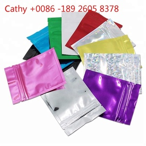 Heat Sealed Glitter Metal foil bag zip lock plastic with logo Printed