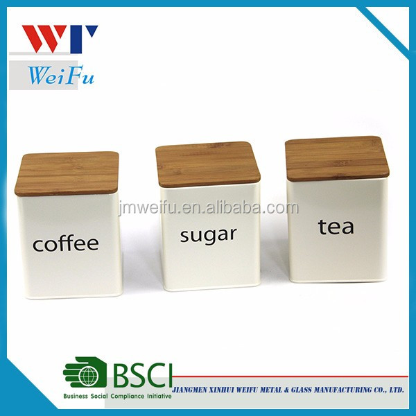 Metal Kitchen Storage Box, Tea Sugar Coffee Canister with Bamboo Lid