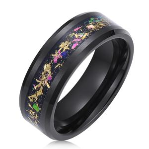 Ti Aohua Nature 8mm Tungsten Carbide Wedding Ring Inlaid Colorful Fragments/Multicolor Opal Engagement Band