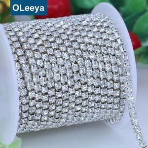 Wholesale 1row dense mat 12ss 3mm crystal cup chain trimming with silver base  rhinestone waist chain 1bc180e6991e