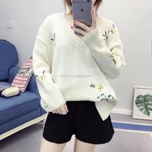Koreanische art v-ausschnitt langarm blume bestickt 2017 design mädchen jumper  pullover 9056422009