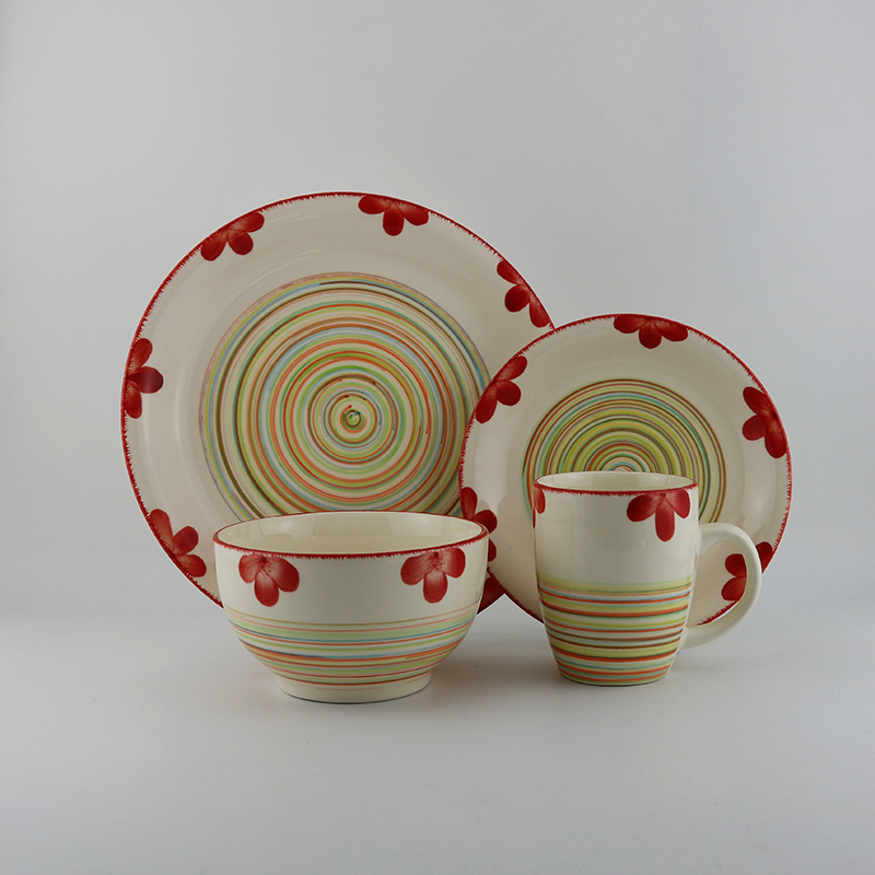 72 piece dinnerware set red brass 7.25' soup bowls 5.5' bowl of sets with ceramic 6 people kids mugs
