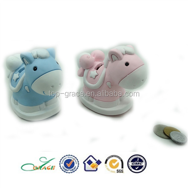 pink and blue baby shower rocking horse resin coin bank