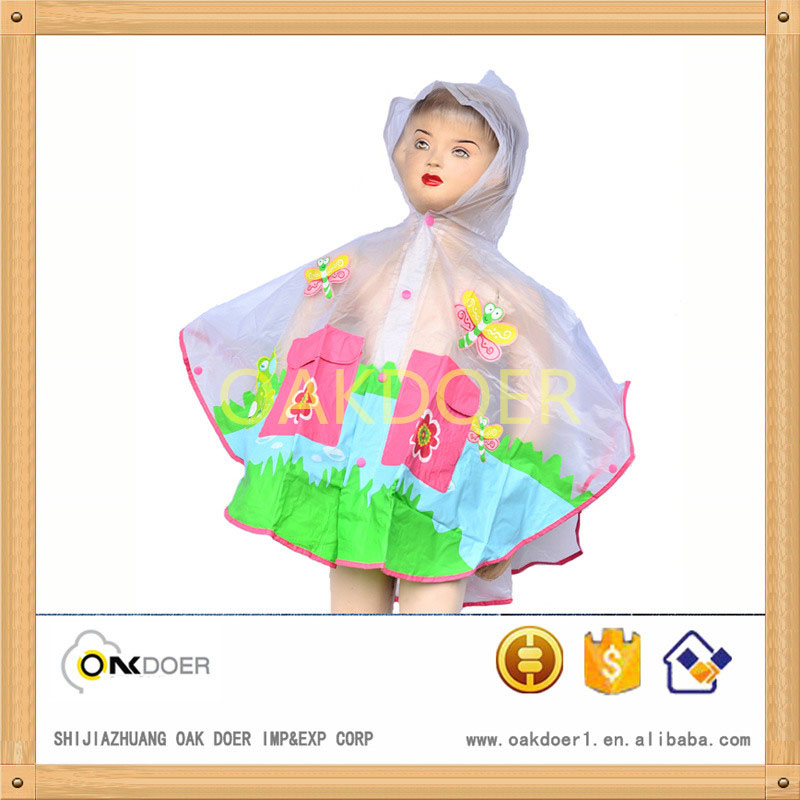 transparent children pvc poncho raincoat with buttons, kid rain poncho with two pockets, rain poncho with colorful drawing print