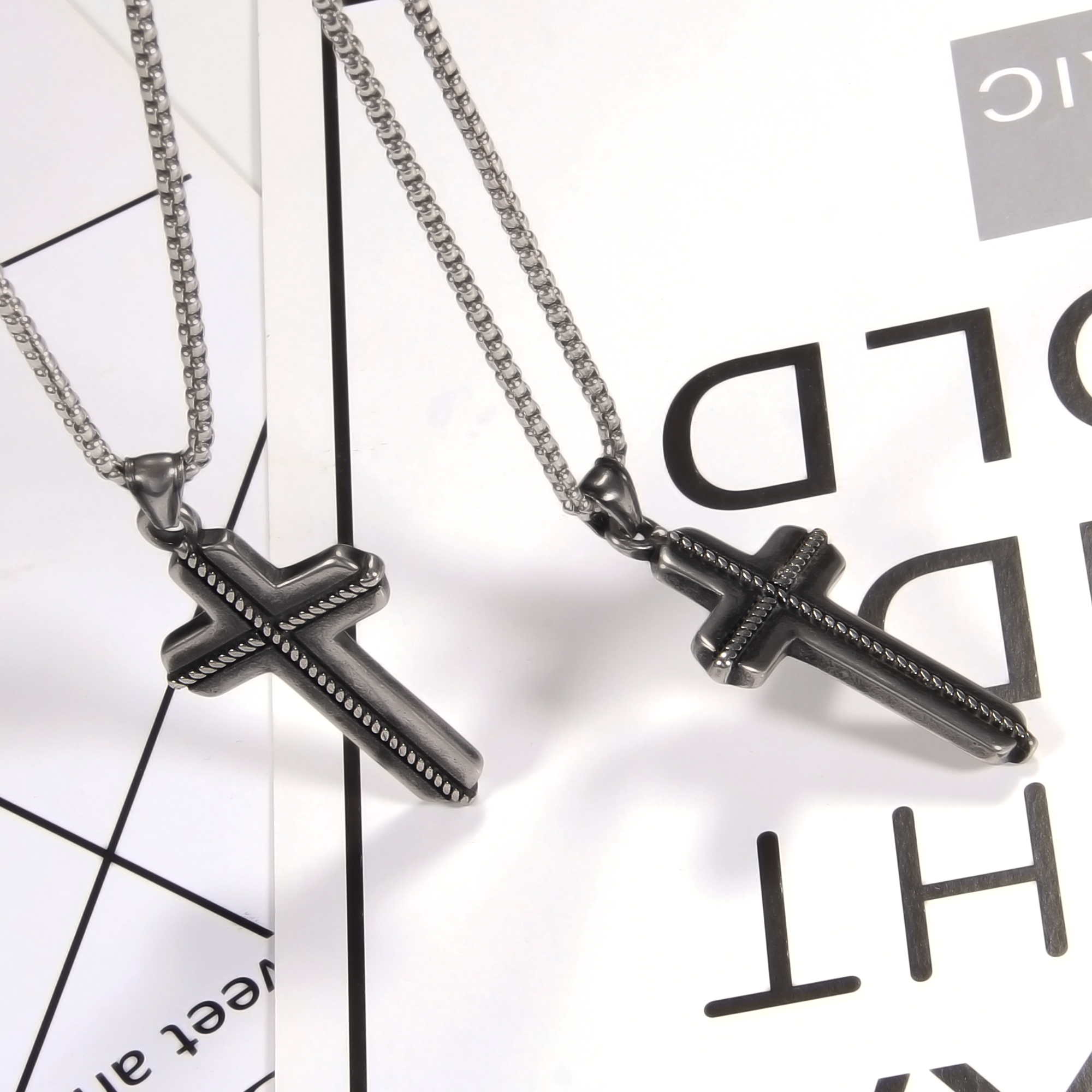 Men Punk Stong Necklaces Stainless Steel Vintage Cross Personality Pendants Necklace For Man Jewelry