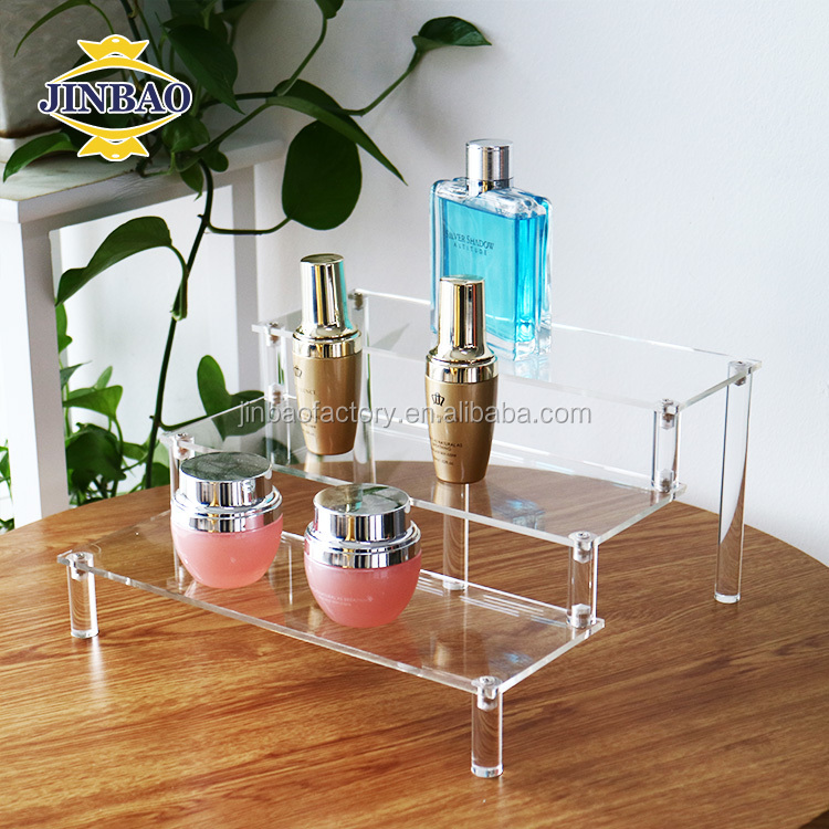 JINBAO 3 4 tier Clear Wallet Display Acrylic Step Riser for Shop