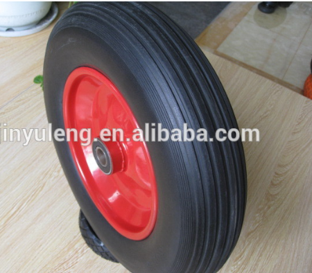 14 inches 3.50-8 4.00-8 solid polyurethane foam rubber wheel ,green wheel ,Material handling equipment parts
