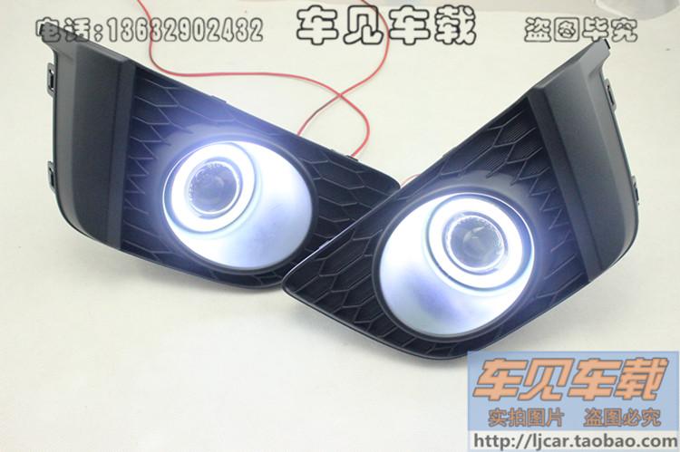 Из светодиодов DRL дневного света COB глаза ангела, Объектив проектора противотуманная фара с крышкой для honda джаз fit, 2 шт.