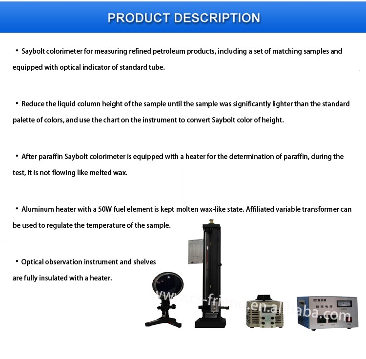 Three Color Standard Pipe Saybolt Colorimeter Instrument Buy