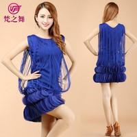 Latest design tassel ballroom women latin dance dress wear L-7095#