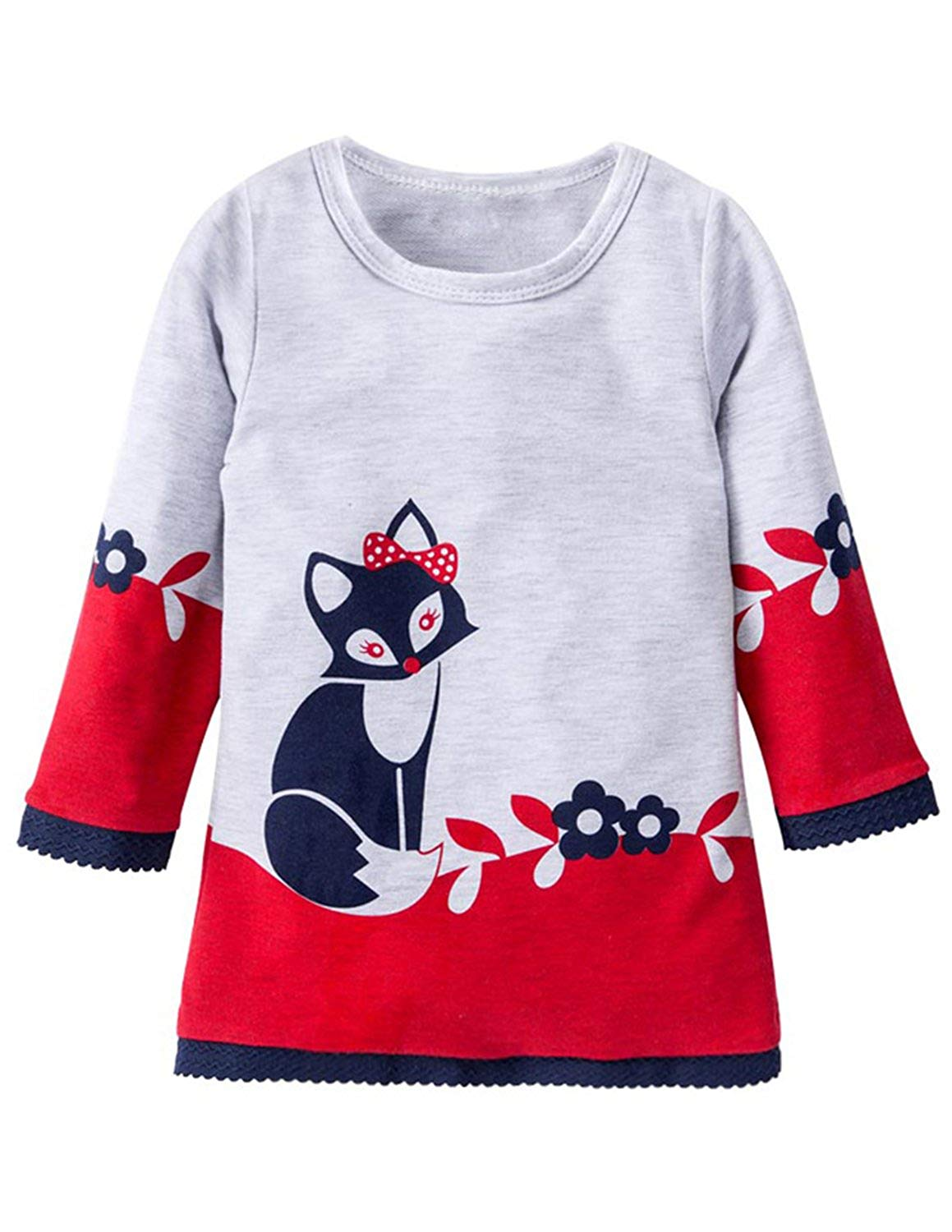 5a2993954bcd3 Get Quotations · JOLIFEI Little Girls Cute Dress Cartoon Animal Print Long  Sleeve Lace Beach Party Tops Outfits