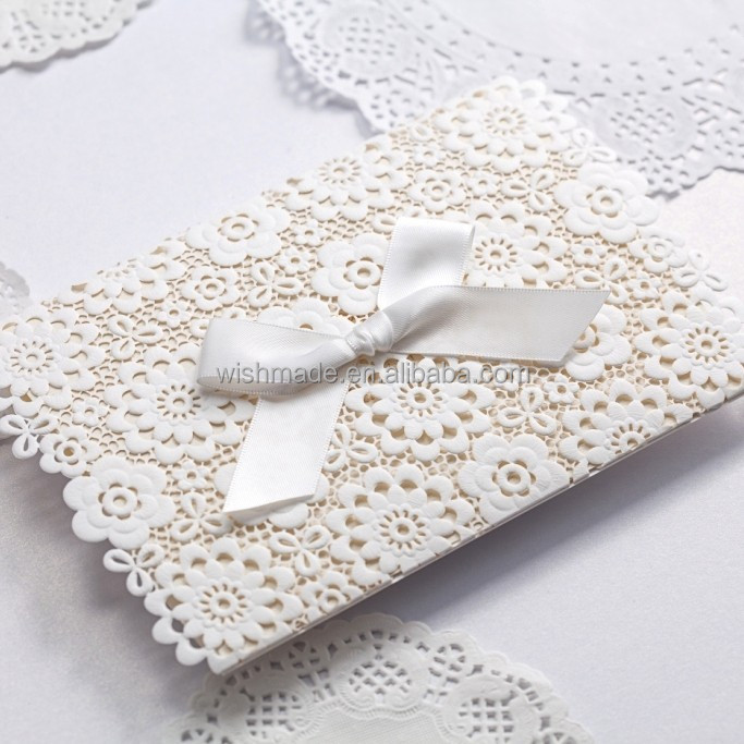 Lace Muslim Wedding Invitations Elegant Embossed White Ribbon – Muslim Marriage Invitation Cards