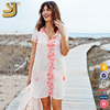 2016 Women white rayon front embroidery summer cover up kaftan beach dress