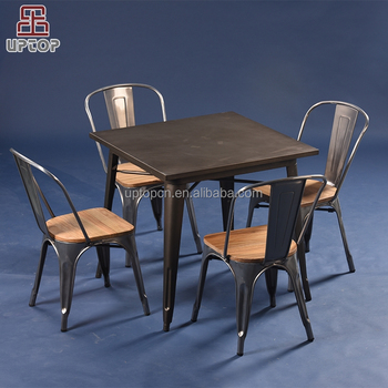 (SP CT675) Vintage Industrial Square Metal Coffee Table Dining Table With 4  Chairs