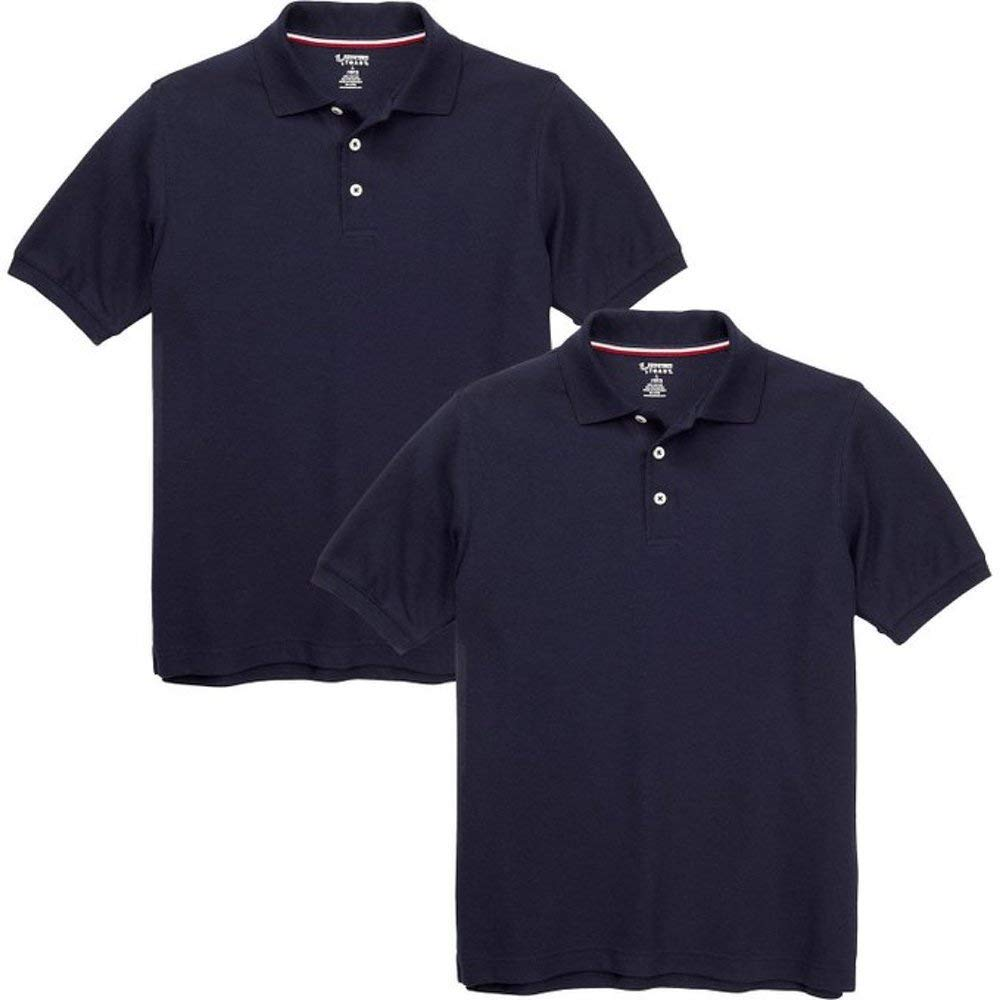 French Toast Boys Short Sleeve Shirt 2 Pack Polo's (Large (10/12), Navy)
