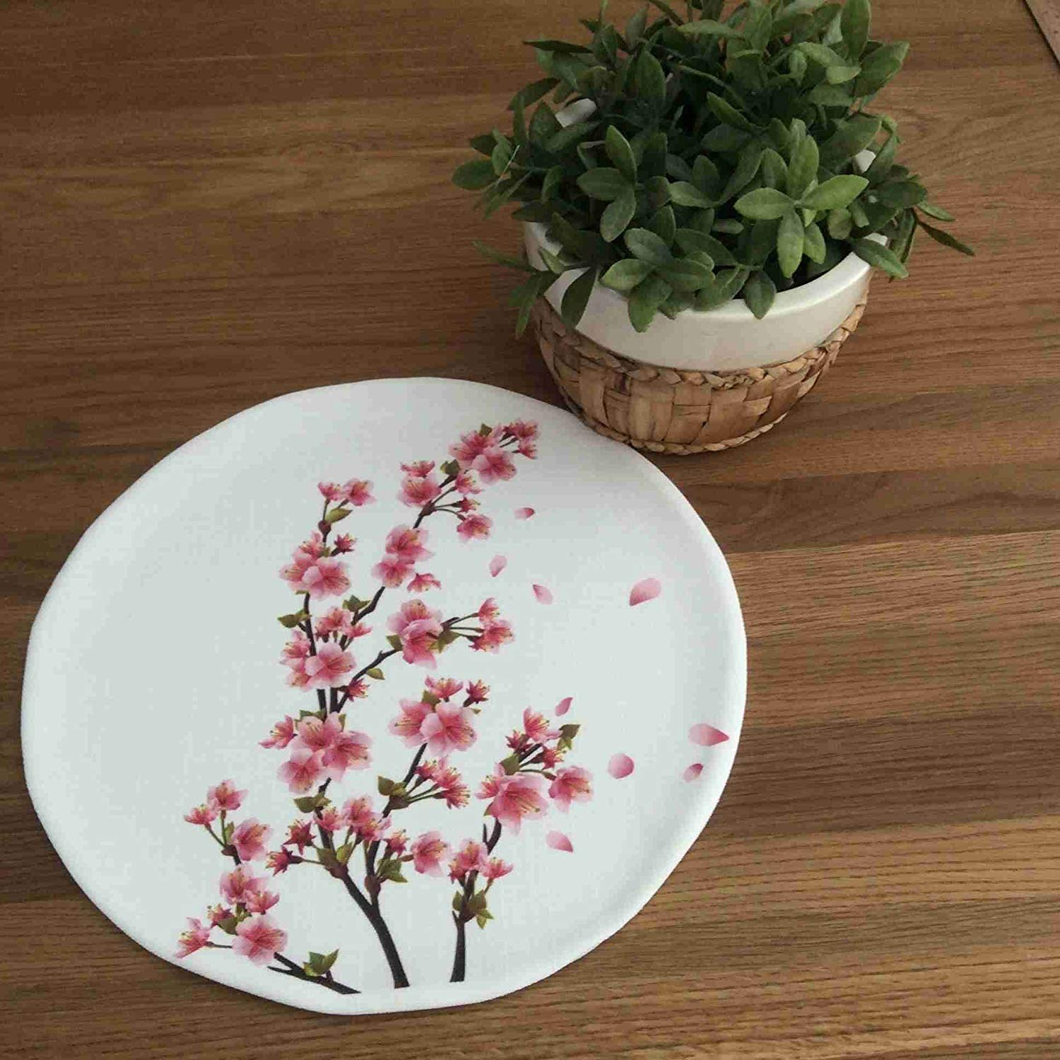 "TekgulDesign Springtime Placemats,%100 Polyester, Handmade, Diameter: 35cm (14""), Crease Resistant and Stain-Proof Fabric, Modern and Colorful Ultra HD Graphics."