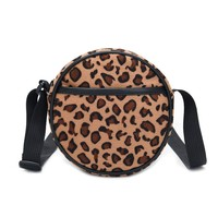 Fashion style autumn and winter sexy Leopard round bag women mini single shoulder crossbody double use bag