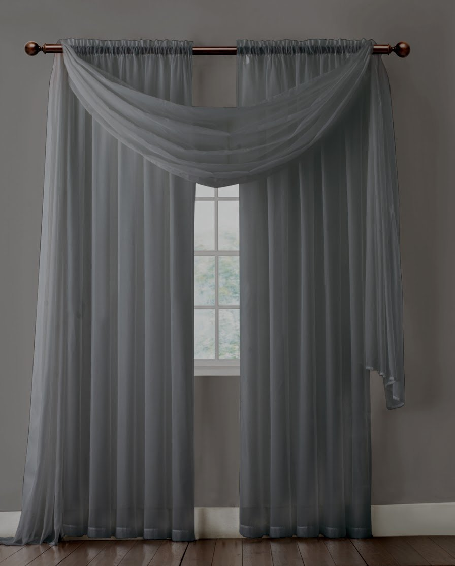 Extra Long Charcoal Gray Sheer Window