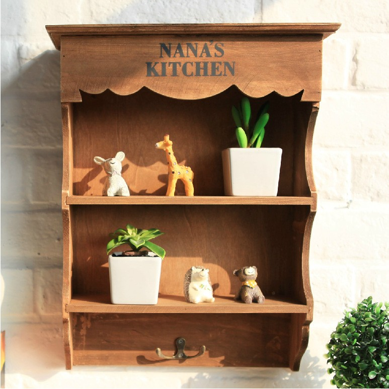 Wooden Bathroom Shelves Storage: Retro Antique Wood Hanging Cabinet Wall Shelf Display