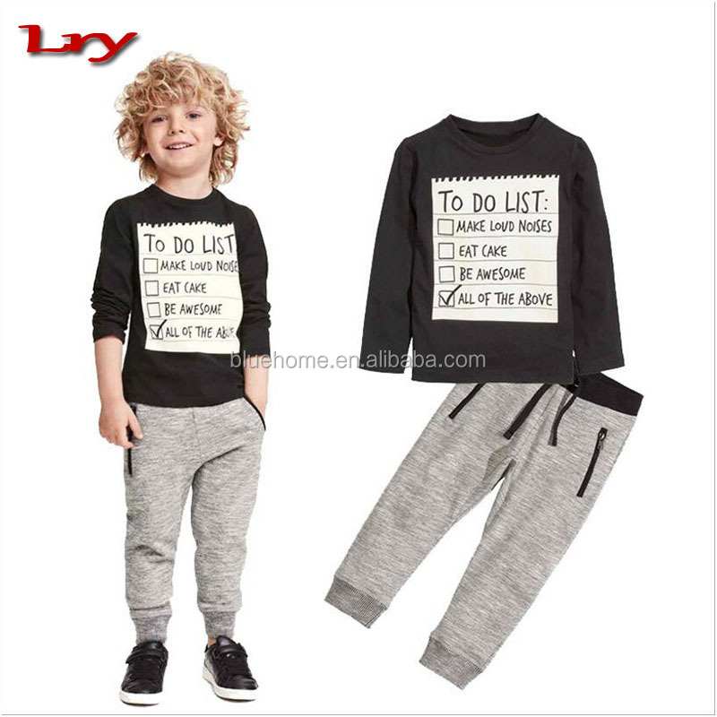 2017 baby boy clothing hot style European pure cotton boy infant toddlers black sports casual T-shirt + trousers two-piece suit