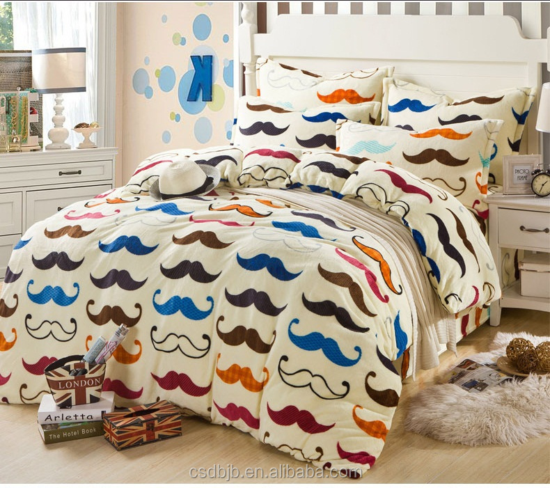 2017 New style High quality mustache print 4pcs flannel blanket bedding set