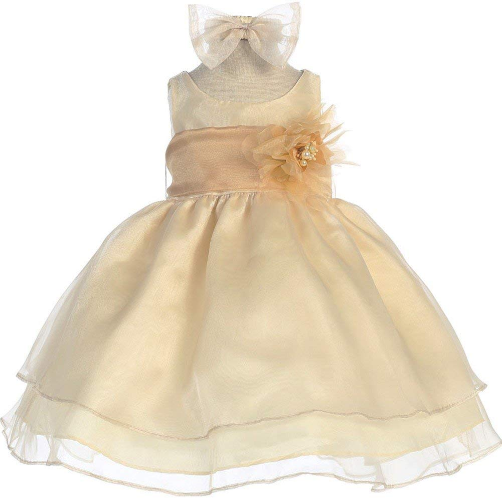 c004f21e43 Get Quotations · Calla Collection Baby Girls Champagne Sash Organza Flower  Girl Dress 6-24M