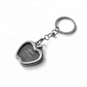 Wholesale custom apple shape metal keychain photo frame keychain custom logo