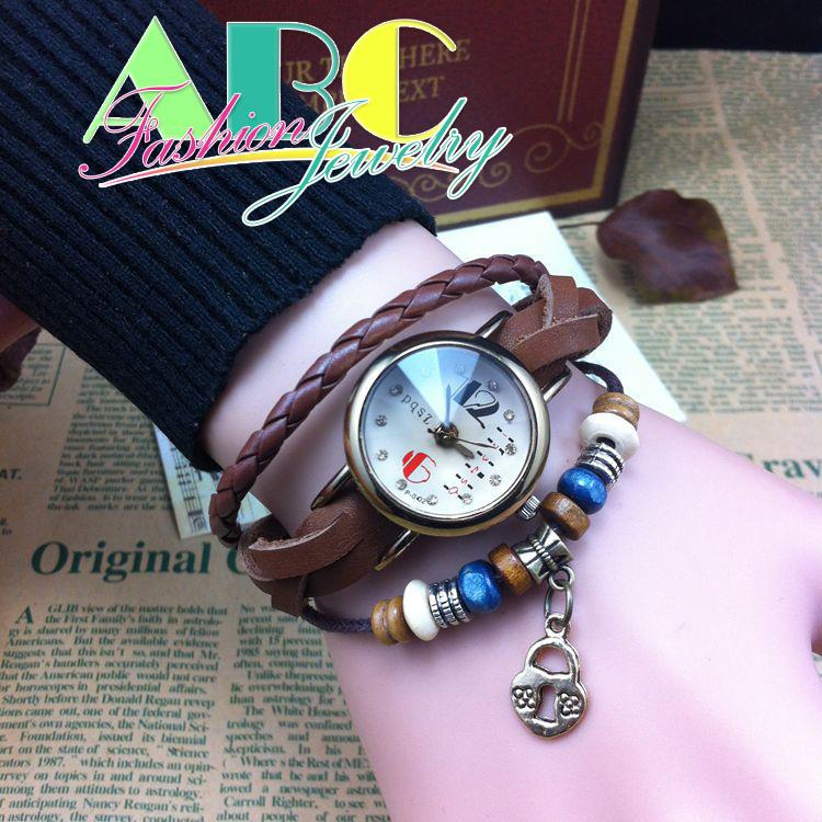 Натуральная кожа браслет часы один пряжки браслеты часы мода сплава наберите женщин часы