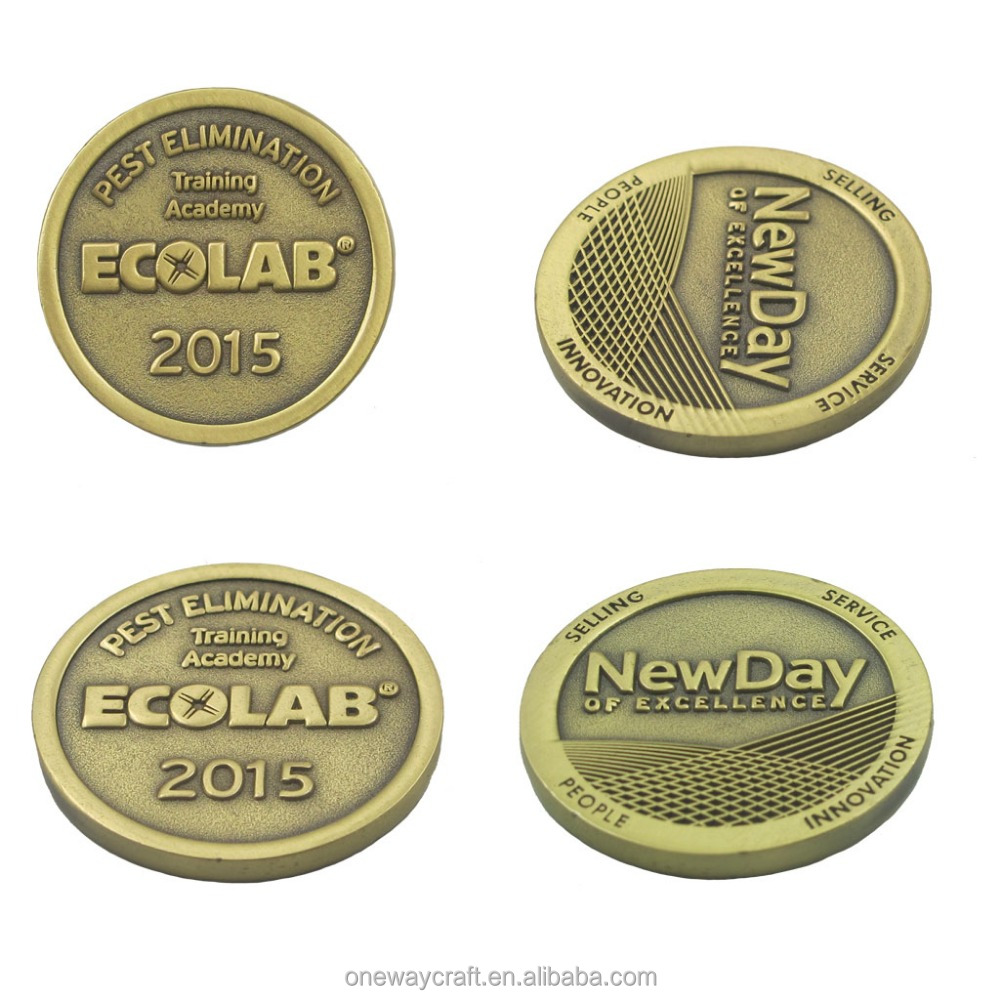 Collection coins with antique gold finish, customized coins