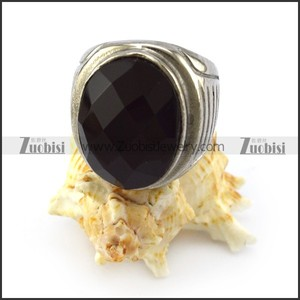 Vintage Gemstone Jewelry Silver Engraved Cabochon Black Onyx Stone Ring with Vertical Stripes Pattern