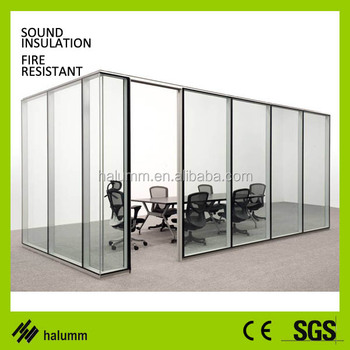 Soundproof Double Glazing Glass Wall Movable Blinds Inside Glass Office  Partition