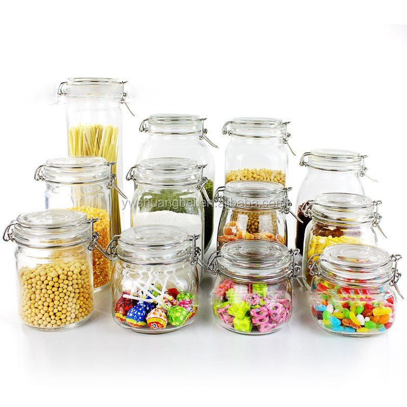 Glass Food/Honey/Candy Storage Jar Big Clear Glass Jar With Hinged Clamp Lids