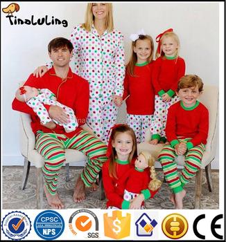 wholesale china factory cheap matching family christmas pajamas stripe pajamas blanks