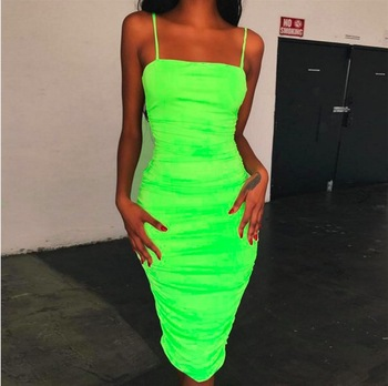 2019 Spring Neon Color Long Dress Fall Women Sexy Skinny Long Sleeve Bandage Dress Party